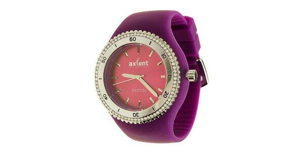 Dámské hodinky Axcent s fialovým pryžovým řemínkem a kamínky