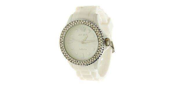 Dámské bílé hodinky Jet Set s kamínky