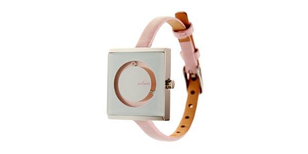 Dámské růžovo-stříbrné náramkové hodinky Axcent