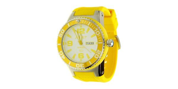 Pánské žluté hodinky Jet Set s pryžovým řemínkem