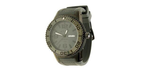 Pánské černé hodinky Jet Set s pryžovým řemínkem
