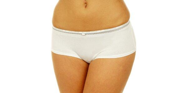 Dámské bílé kalhotky Tom Tailor se stříbrnou krajkou