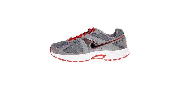 Pánské šedé běžecké boty Nike Dart 9 s červenými detaily