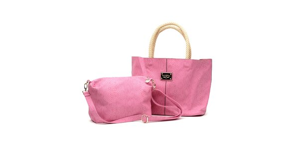 Dámský set růžových kabelek s béžovými detaily Princess Cult