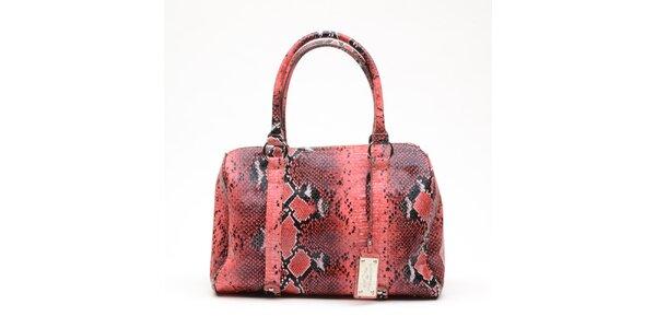 Dámská melounově růžová kabelka s hadím vzorem a visačkou Princess Cult