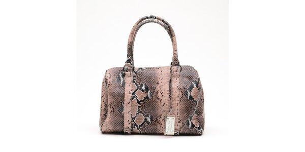 Dámská lososová kabelka s hadím vzorem a visačkou Princess Cult