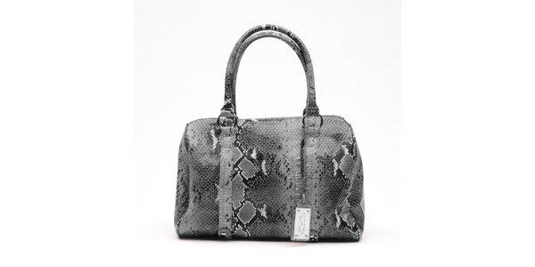 Dámská šedá kabelka s hadím vzorem a visačkou Princess Cult