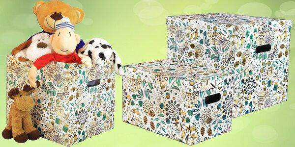 Úložné dekorativní krabice s jarním vzorem