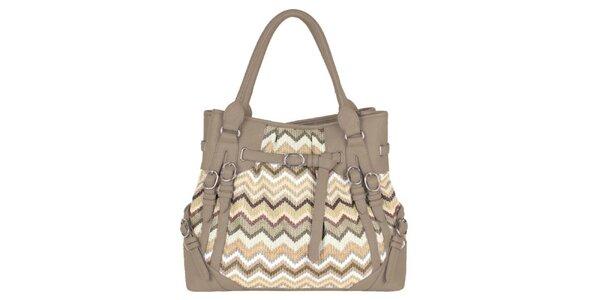 Dámská béžová kabelka s cik cak vzorem Princess Cult