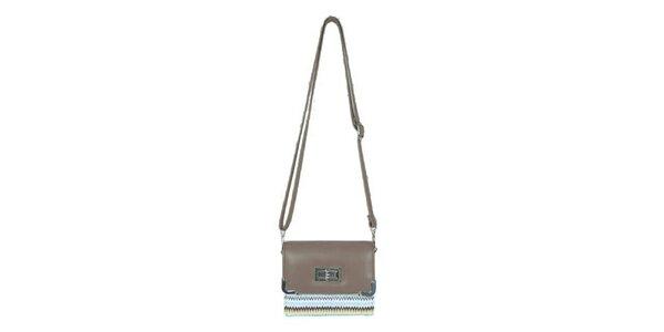 Dámská béžová mini kabelka Princess Queen s cik cak vzorem
