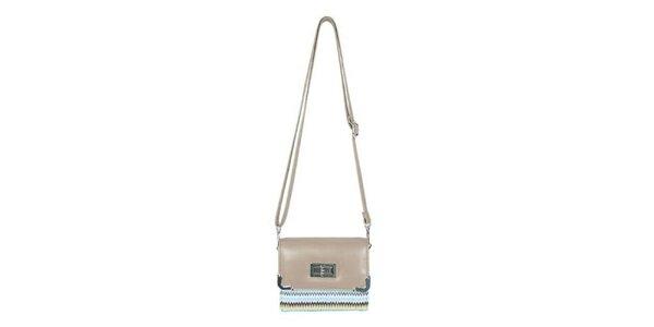 Dámská krémová mini kabelka Princess Queen s cik cak vzorem