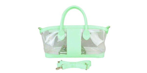 Dámská mátově zelená průhledná kabelka Princess Cult