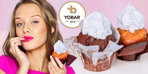 2 lahodné muffiny s bílým frozen yogurtem