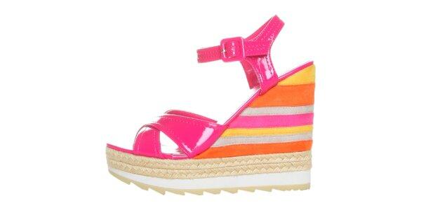 Dámské fuchsiovo-pomerančové lakované sandále na pruhovaném klínku GAS