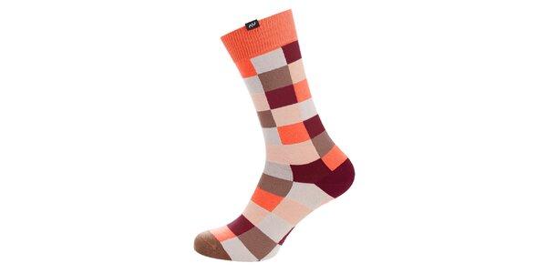 Dámské oranžovo-hnědé kostkované ponožky Minga Berlin - 3 páry