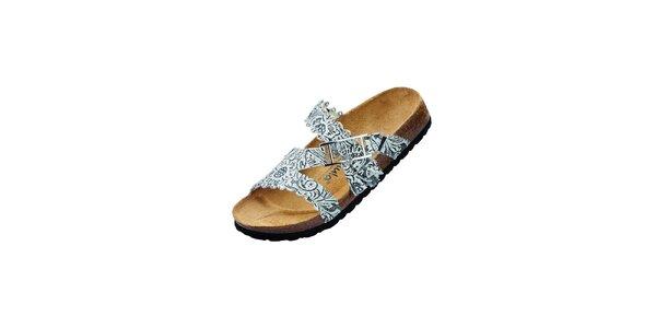 Dámské černo-bílé pantofle Betula s potiskem