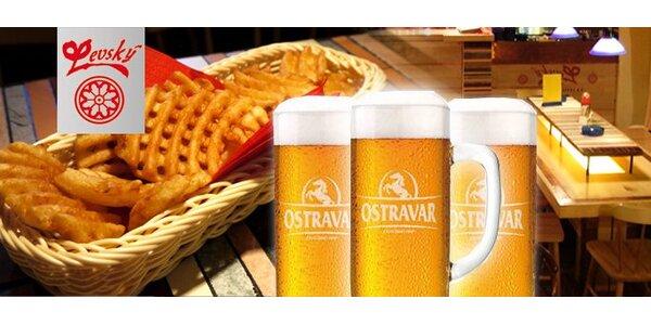 49 Kč za TŘI Ostravary 12° a bramborové mřížky s dipem v restauraci Levský