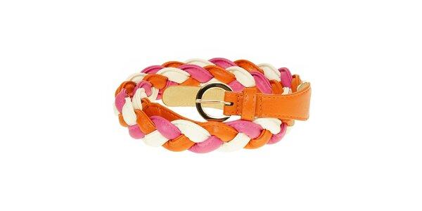 Dámský oranžovo-růžovo-bílý copánkový pásek Café Noir