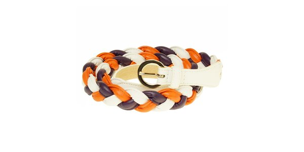Dámský oranžovo-fialovo-bílý copánkový pásek Café Noir