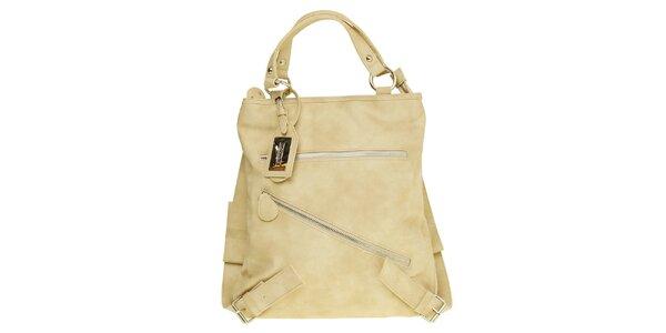 Dámská písková kabelka - batoh s šikmým zipem Café Noir