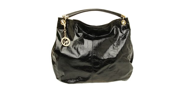 Dámská černá lakovaná kabelka se zlatou visačkou Café Noir