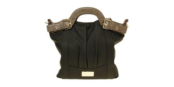 Dámská černá kabelka s hnědými uchy Café Noir