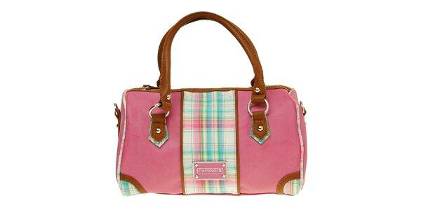 Dámská růžová kabelka s kostkovaným pruhem Café Noir