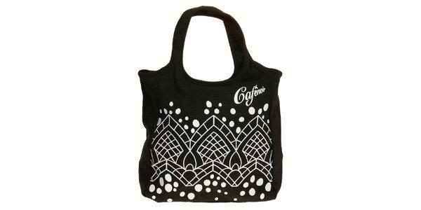 Dámská černá látková kabelka s bílým grafickým potiskem Café Noir