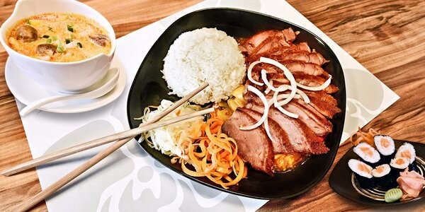 3chodové asijské menu v restauraci Lan