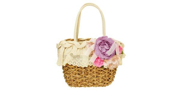 Dámská krémová pletená taška s květinovovu aplikací Café Noir