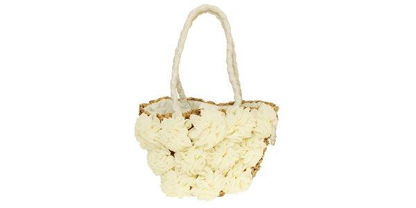 Dámská krémová kabelka s květinovými látkovými aplikacemi Café Noir