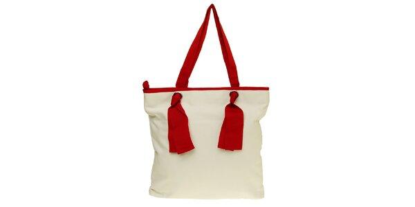 Dámská červeno-bílá látková kabelka Café Noir
