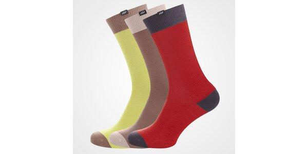 Set 3 párů barevných dámských ponožek Minga Berlin - žluté, hnědé, červené