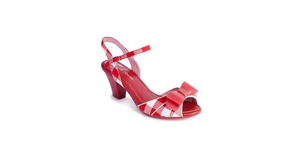 Dámské červeno-bílé sandály Lola Ramona s mašlí a kostkami