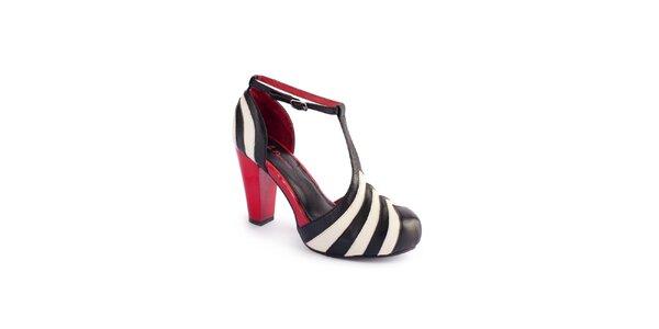 Dámské černo-krémové sandály Lola Ramona s červenými detaily