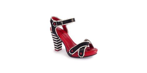 Dámské černo-bílé sandály Lola Ramona s červenými detaily
