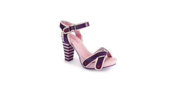 Dámské fialovo-růžové sandály Lola Ramona s červenými detaily