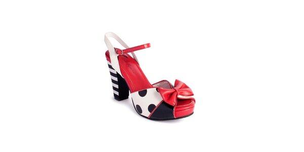 Dámské černo-bílo-červené sandály Lola Ramona