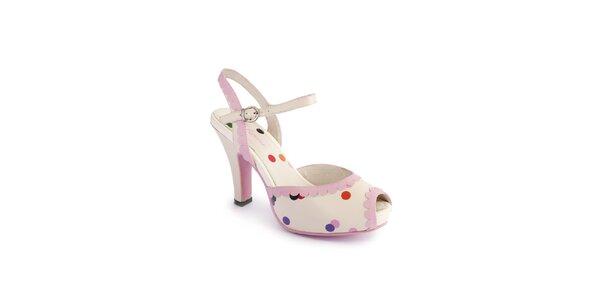 Dámské krémové sandály Lola Ramona s barevnými puntíky