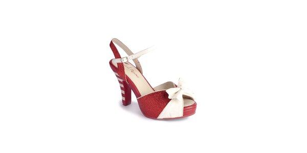 Dámské červeno-bílé sandály Lola Ramona s mašlí a třpytkami