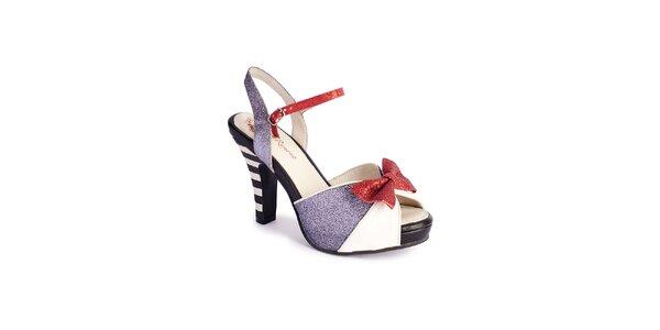 Dámské stříbrno-bílé sandály Lola Ramona s červenou mašlí a třpytkami