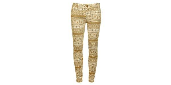 Dámské béžovo-bílé vzorované skinny kalhoty Daphnea