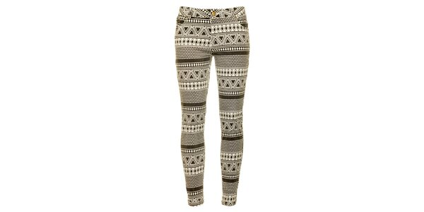 Dámské černo-bílé vzorované skinny kalhoty Daphnea