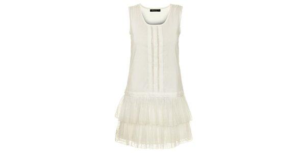 Dámské bílé šaty s tylovými volány Daphnea