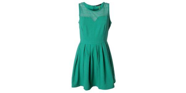 Dámské zelené minišaty s krajkovým živůtkem Daphnea