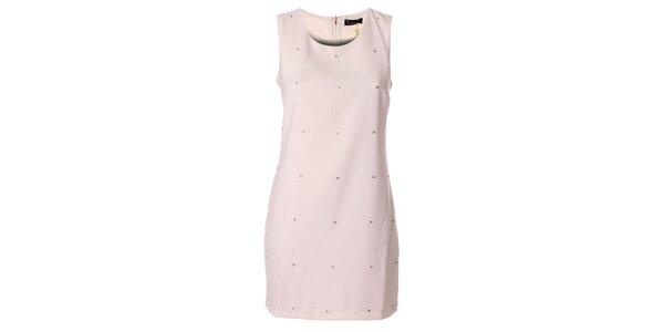 Dámskéčistě bílé pouzdrové šaty s kamínky Daphnea
