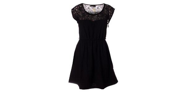 Dámské černé šaty s krajkou Daphnea