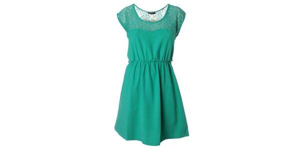Dámské zelené šaty s krajkou Daphnea