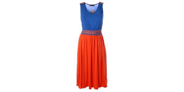 Dámské oranžovo-modré delší šaty s proplétaným páskem Daphnea