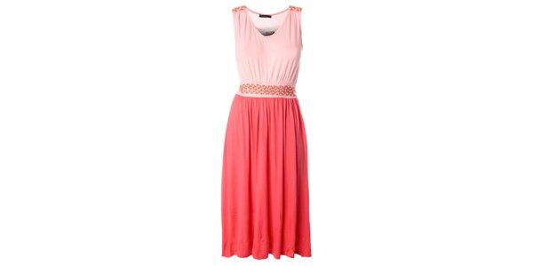 Dámské růžovo-lososové delší šaty s proplétaným páskem Daphnea